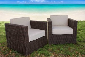 outdoor resin wicker furniture deck chair cushion