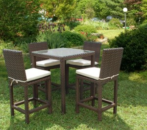 outdoor resin wicker furniture bar height set