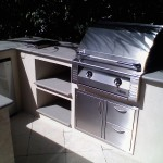built in alfresco bbq grill and combination access door/drawers