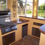 outdoor kitchen red granite infrared grill