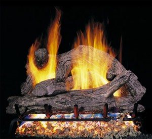 vented gas log driftwood fireplace