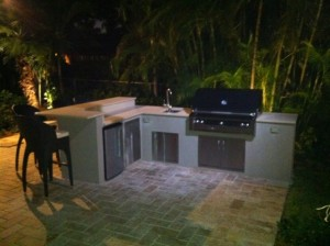 custom outdoor kitchen in hallandale florida with built in infrared alfresco gas grill